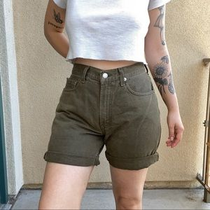 vintage high waisted 550 levis green jean shorts
